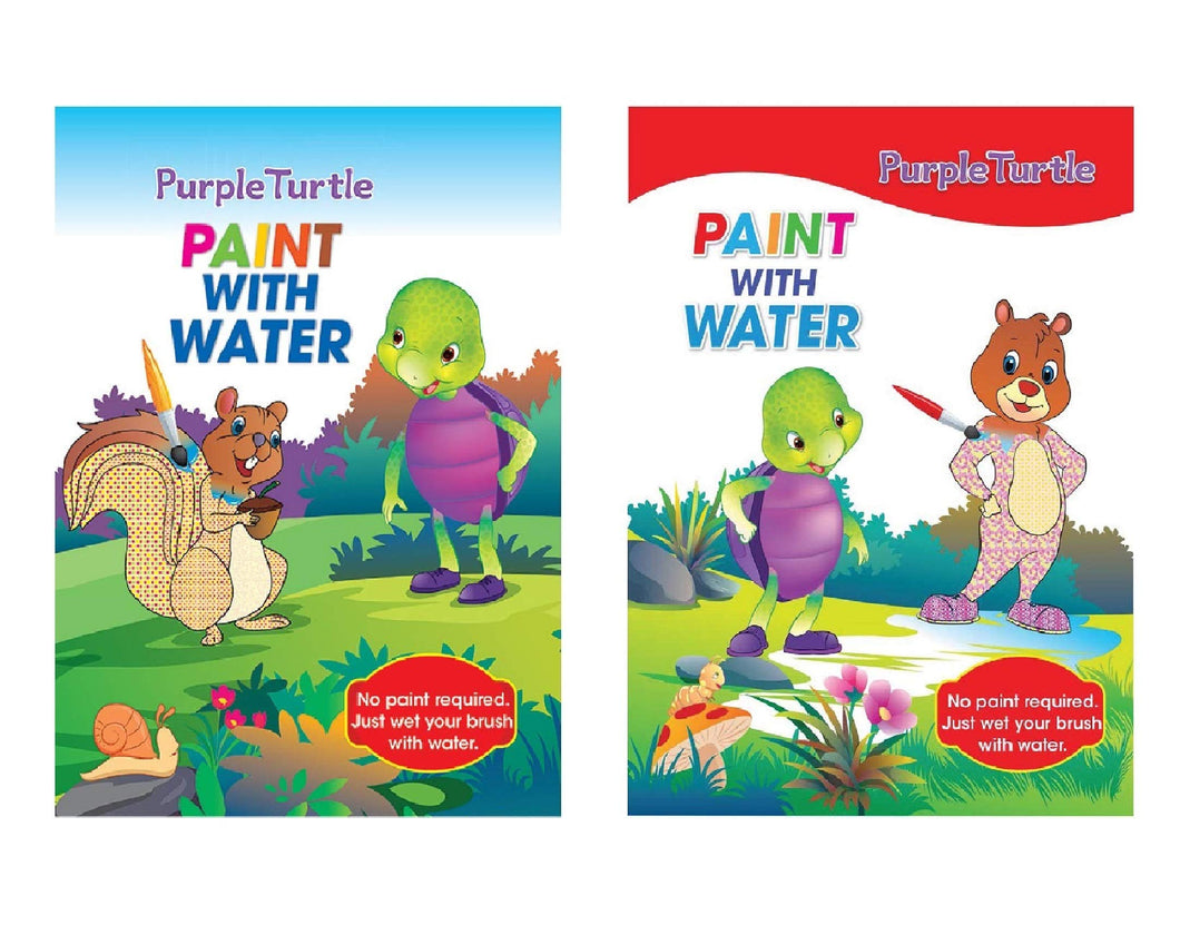 Purple Turtle Paint with Water Books for 3 to 5 year Kids (Combo of 2 Colouring Books)