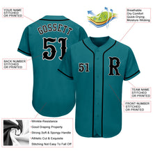 Load image into Gallery viewer, Custom Aqua Black-Gray Authentic Baseball Jersey