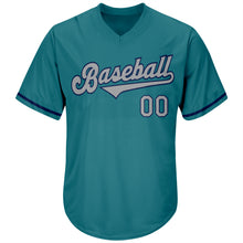 Load image into Gallery viewer, Custom Aqua Gray-Navy Authentic Throwback Rib-Knit Baseball Jersey Shirt