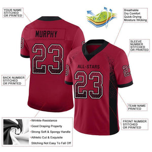 Custom Cardinal Black-White Mesh Drift Fashion Football Jersey