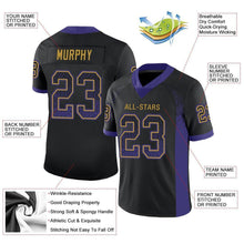Load image into Gallery viewer, Custom Black Purple-Old Gold Mesh Drift Fashion Football Jersey