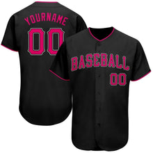 Load image into Gallery viewer, Custom Black Pink-White Authentic Baseball Jersey