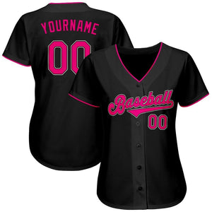 Custom Black Pink-White Authentic Baseball Jersey