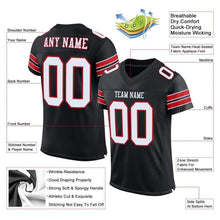 Load image into Gallery viewer, Custom Black White-Red Mesh Authentic Football Jersey