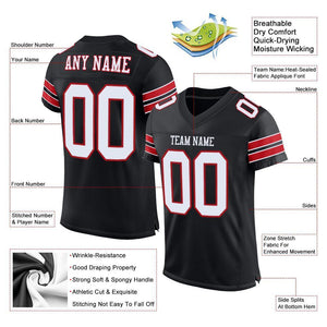 Custom Black White-Red Mesh Authentic Football Jersey