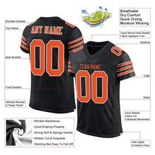 Load image into Gallery viewer, Custom Black Orange-White Mesh Authentic Football Jersey