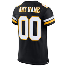 Load image into Gallery viewer, Custom Black White-Gold Mesh Authentic Football Jersey