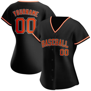 Custom Black Orange-White Authentic Baseball Jersey