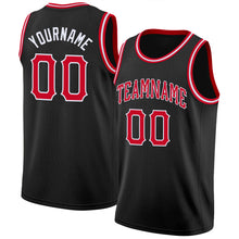 Load image into Gallery viewer, Custom Black Red-White Round Neck Rib-Knit Basketball Jersey