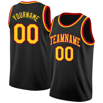 Custom Black Gold-Red Round Neck Rib-Knit Basketball Jersey
