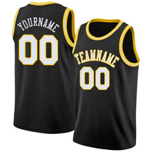 Load image into Gallery viewer, Custom Black White-Gold Round Neck Rib-Knit Basketball Jersey