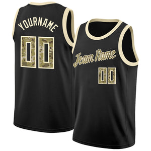 Custom Black Camo-Cream Round Neck Rib-Knit Basketball Jersey