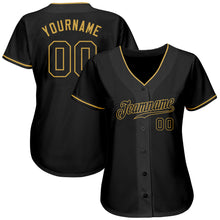 Load image into Gallery viewer, Custom Black Black-Old Gold Authentic Baseball Jersey
