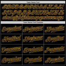 Load image into Gallery viewer, Custom Black Black-Gold Authentic Baseball Jersey