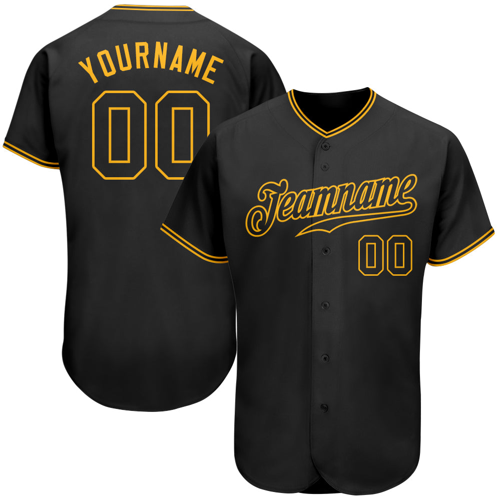 Custom Black Black-Gold Authentic Baseball Jersey