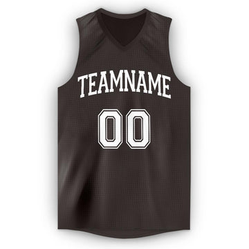 Custom Brown White V-Neck Basketball Jersey