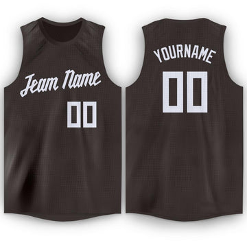 Custom Brown White Round Neck Basketball Jersey