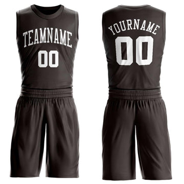 Custom Brown White Round Neck Suit Basketball Jersey