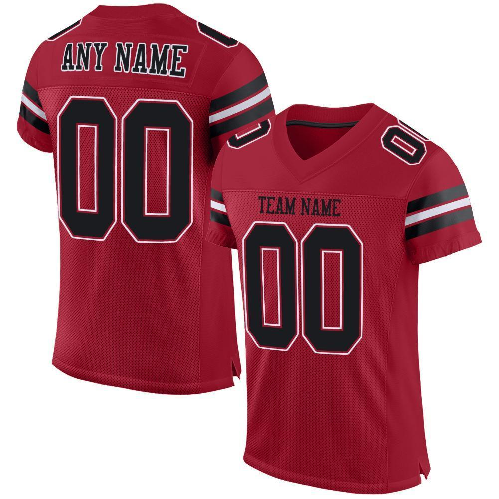 Custom Cardinal Black-White Mesh Authentic Football Jersey