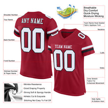 Load image into Gallery viewer, Custom Cardinal White-Black Mesh Authentic Football Jersey