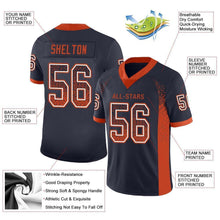 Load image into Gallery viewer, Custom Navy Orange-White Mesh Drift Fashion Football Jersey