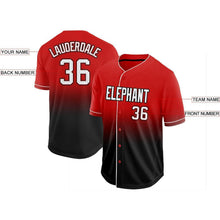 Load image into Gallery viewer, Custom Red White-Black Fade Baseball Jersey
