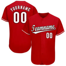 Load image into Gallery viewer, Custom Red White-Black Baseball Jersey