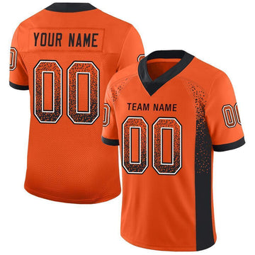 Custom Orange Black-White Mesh Drift Fashion Football Jersey