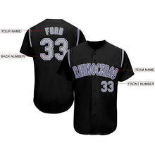 Load image into Gallery viewer, Custom Black Gray-Purple Baseball Jersey