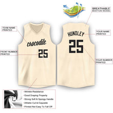 Load image into Gallery viewer, Custom Cream Black V-Neck Basketball Jersey