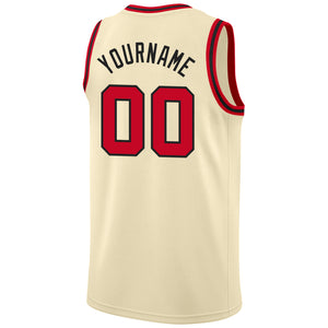 Custom Cream Red-Black Round Neck Rib-Knit Basketball Jersey