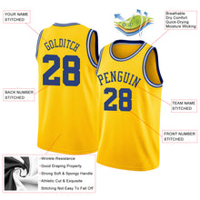 Load image into Gallery viewer, Custom Gold Royal-White Round Neck Rib-Knit Basketball Jersey