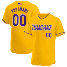 Load image into Gallery viewer, Custom Gold Purple-White Authentic American Flag Fashion Baseball Jersey