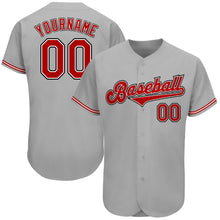 Load image into Gallery viewer, Custom Gray Red-Black Authentic Baseball Jersey