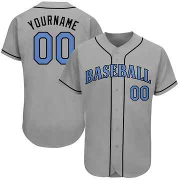 Custom Gray Light Blue-Black Authentic Father's Day Baseball Jersey