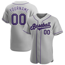 Load image into Gallery viewer, Custom Gray Purple-Black Authentic Baseball Jersey