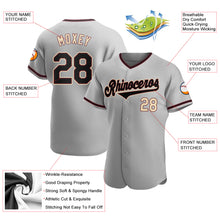Load image into Gallery viewer, Custom Gray Black-Khaki Authentic Baseball Jersey