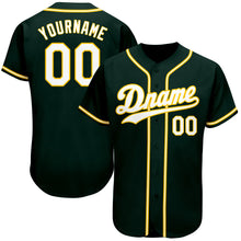 Load image into Gallery viewer, Custom Green White-Gold Authentic Baseball Jersey