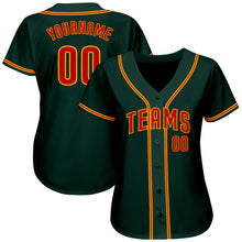 Load image into Gallery viewer, Custom Green Orange-Gold Authentic Baseball Jersey