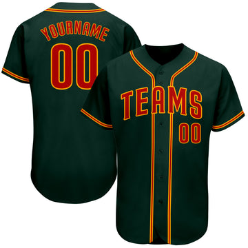 Custom Green Orange-Gold Authentic Baseball Jersey