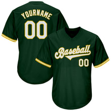 Load image into Gallery viewer, Custom Green White-Gold Authentic Throwback Rib-Knit Baseball Jersey Shirt