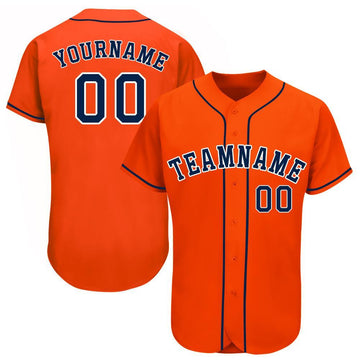 Custom Orange Navy-White Baseball Jersey
