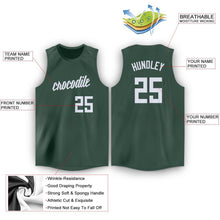 Load image into Gallery viewer, Custom Hunter Green White Round Neck Basketball Jersey
