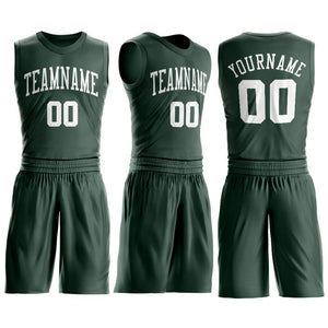 Custom Hunter Green White Round Neck Suit Basketball Jersey