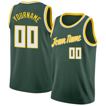Custom Hunter Green White-Gold Round Neck Rib-Knit Basketball Jersey