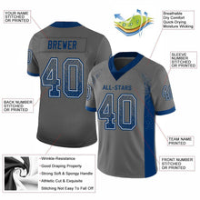 Load image into Gallery viewer, Custom Gray Royal-White Mesh Drift Fashion Football Jersey