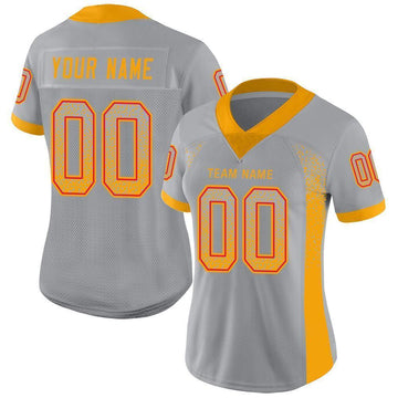Custom Light Gray Gold-Scarlet Mesh Drift Fashion Football Jersey