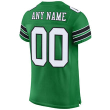 Load image into Gallery viewer, Custom Kelly Green White-Black Mesh Authentic Football Jersey