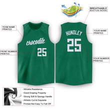 Load image into Gallery viewer, Custom Kelly Green White Round Neck Basketball Jersey