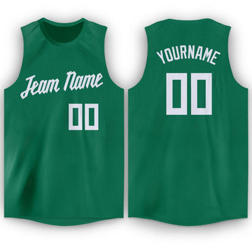 Custom Kelly Green White Round Neck Basketball Jersey